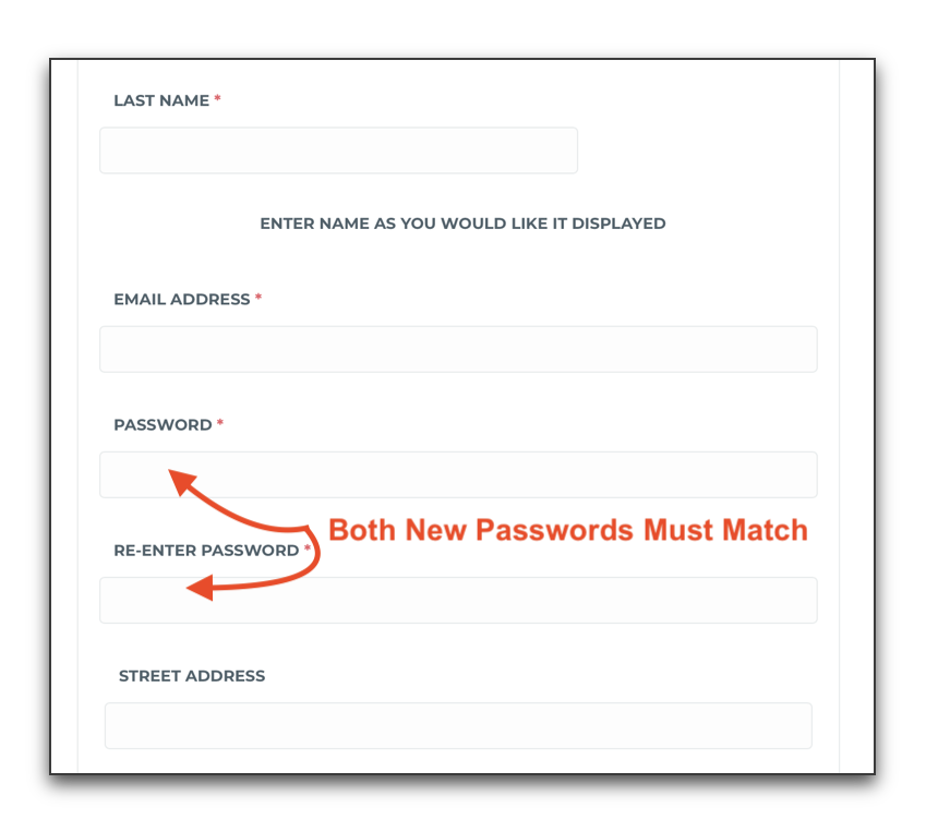 Both Passwords Must Match